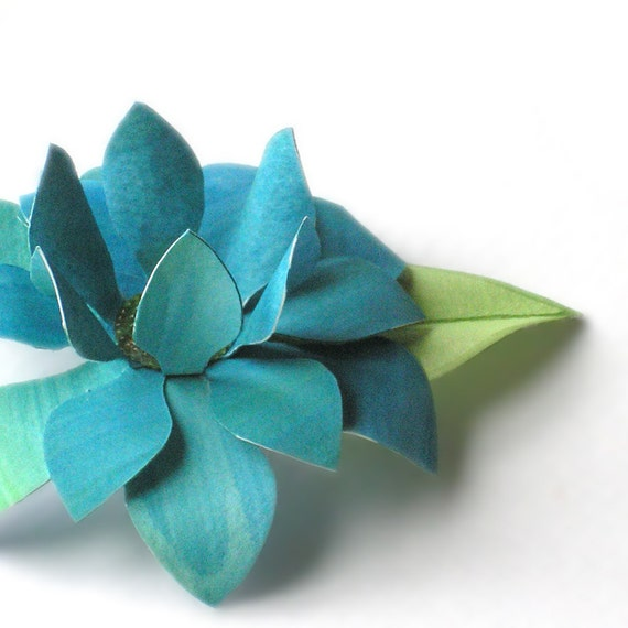 Flower Hair Clip - Teal Paper Lotus
