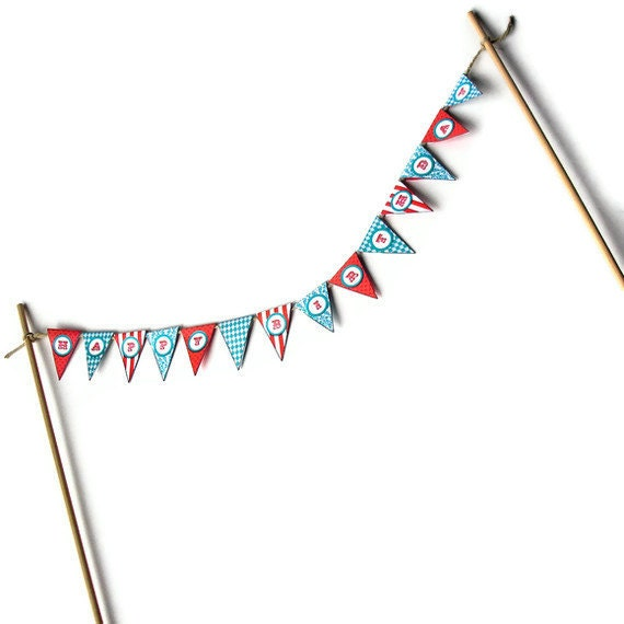 Mini Happy Birthday Carnival Banner Cake Topper - READY TO SHIP