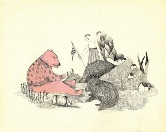 GICLEE print , fine art, pink bear