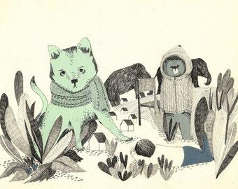 giclee print, fine art, green cat