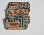 Halloween tickets set of 13, Halloween movie ticket stub, Halloween party ticket