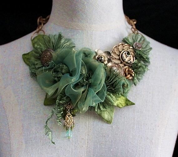 """Statement Floral Neckpiece Bib Necklace """"GREEN GAGE"""""""