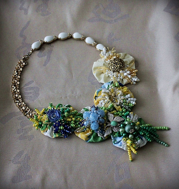 GARDEN PARTY Textile Beaded Mixed Media Bib Statement Necklace Wearable Art