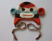 Multicolor Sock Monkey Hat  - Adorable Photographers Prop - newborn hat - boy baby hat - girl baby hat