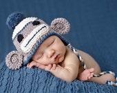 Vintage Look Baby Boy Sock Monkey Hat - Adorable Photographers Prop -newborn hat - toddler monkey hat - boy earflap hat
