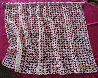 crocheted white cotton lace curtain/windowtreatment/valance