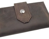 Leather iPhone Wallet with Front Snap Closure - Handmade - 100% Full Grain Leather - Brown -\