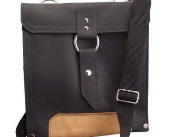 "11"" Air - Leather Laptop Bag:  - Classic Black and Sunrise Slim Traveler"
