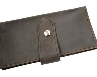 Leather Checkbook Wallet for iPhone 5- with Front Snap - Brown - Full Grain Leather - American Made - Free Shipping