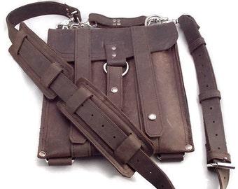 "13"" Leather Laptop Bag New:  - Rustic Brown Slim Messenger - 13"" Air -"