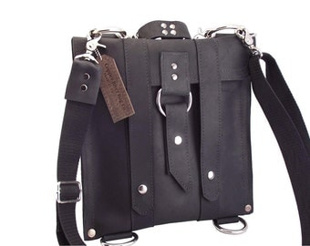 "11"" - Leather Laptop Bag New:  - Classic Black Slim Messenger -"