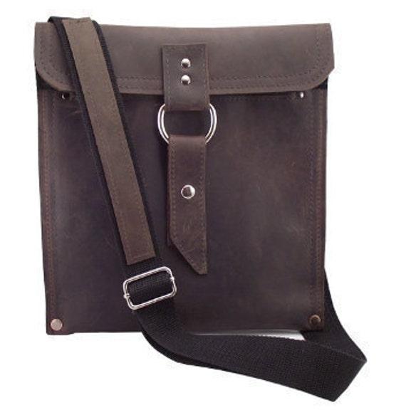 Leather iPad Bag New:  - Rustic Brown Slim Traveler