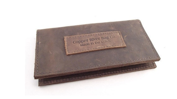 Leather iPhone Checkbook Wallet  - Brown - Thick Full Grain Leather - American Made