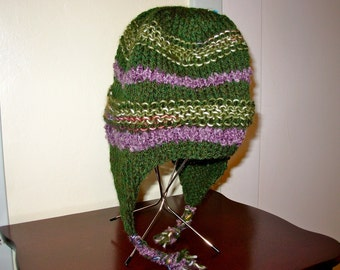 Green Wool Hat with Ear flaps