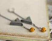Hematite Chevron Earrings, Long Dangle, Mustard Yellow