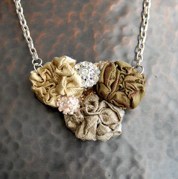 Fabric Flower Necklace, Re-purposed Silk, Olive Green, Sage, Shimmering, Iridescent