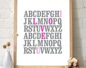 ABC I Love You Alphabet Love Typography Print. Gray and violet-pink. Inspirational Quote Wall Art Poster Nursery Art Baby Room - TA105