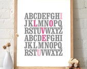 ABC I Love You Alphabet Typography Print. Gray and rose pink Poster Wall Art Home Decor Inspirational quote letters font design - TA102