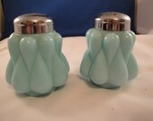 Rare 1950's Fenton Teardrop Aqua Milk Glass Shakers