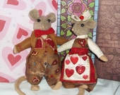 OOAK Mouse Couple in Valentine Outfits