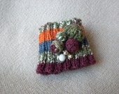 Knitted Cuff in Green, Blue, Burgundy and Rust