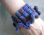Knitted Cuff Ruffled Aqua, Pink, and Purple