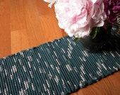 Handwoven Table Runner in Forest Green