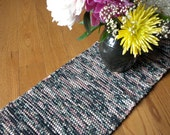Handwoven Table Runner in Black and Mauve