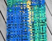 Handwoven Rug of Recycled Blue and Green Sweaters