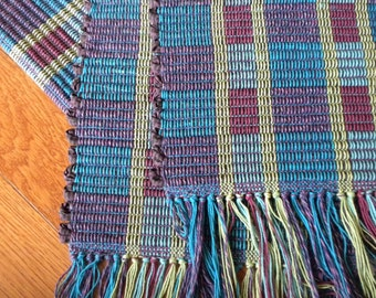 Handwoven Table Runner in Jewel Colored Log Cabin Pattern