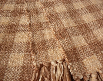 Handwoven Scarf  in Peach and Rust Checks