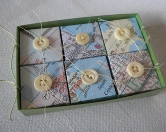 Gift Box Set from Map Paper and Vintage Buttons