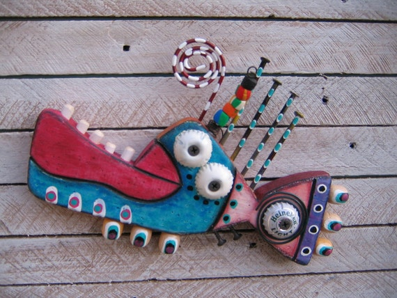 Twisted Fish 103 - Original Found Object Wall Art by Fig Jam Studio - FREE SHIPPING
