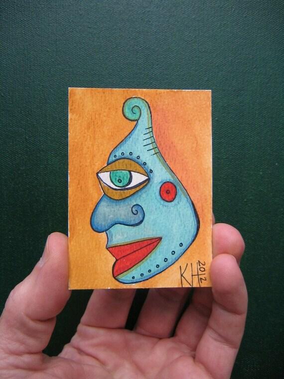 Alien - J11, ACEO, Original Watercolor by Fig Jam Studio