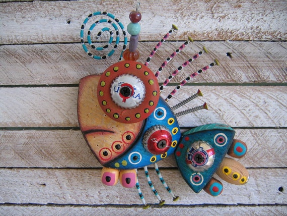 Twisted Fish 131 - Found Object Wall Art by Fig Jam Studio