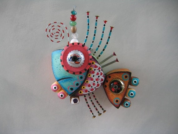 Twisted Fish 130 - Found Object Wall Art by Fig Jam Studio