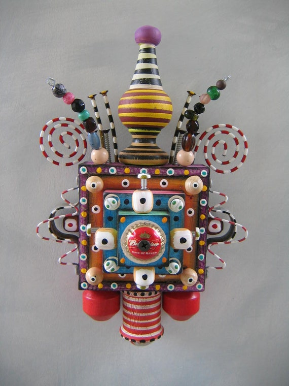 Wall Bling 9, Original Found Object Sculpture, Wall Art, by Fig Jam Studio
