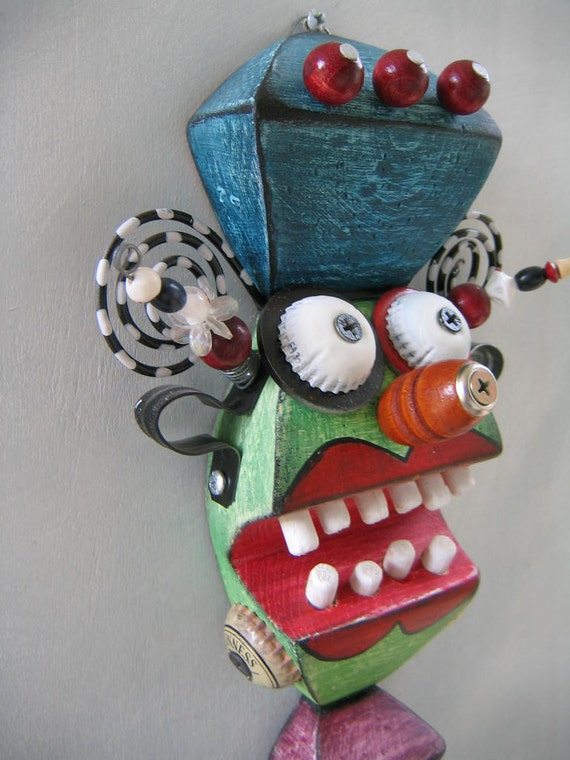 Mini Mask 8, Original Found Object Sculpture, Wall Art, by Fig Jam Studio
