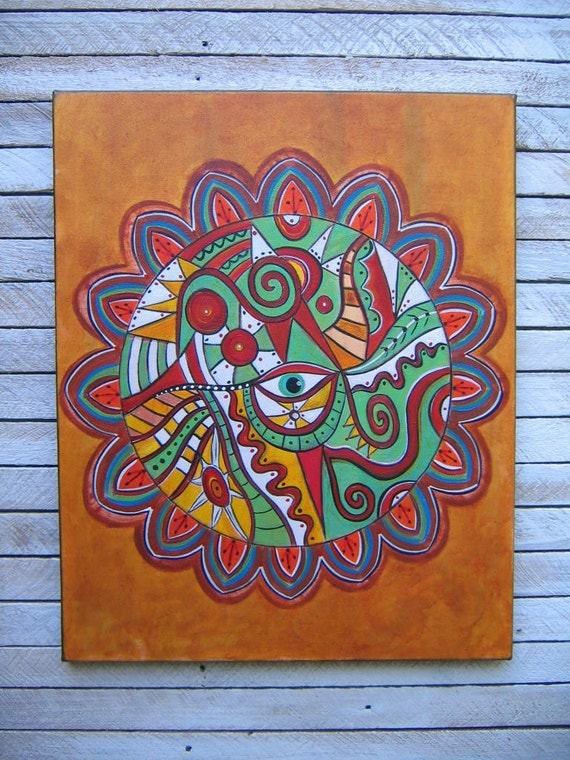 Zendala, RESERVED LISTING, Original 16 x 20 Acrylic Painting on Canvas, Wall Decor, Abstract Painting, by Fig Jam Studio