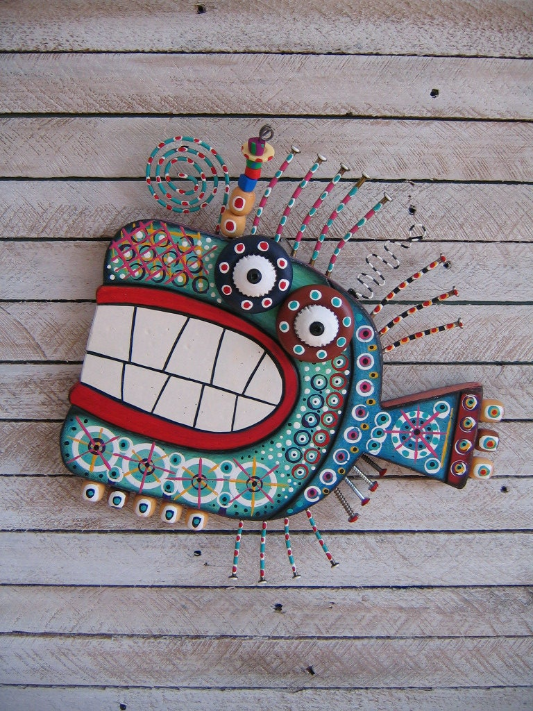 Twisted Fish 127 Found Object Wall Art By Fig Jam Studio