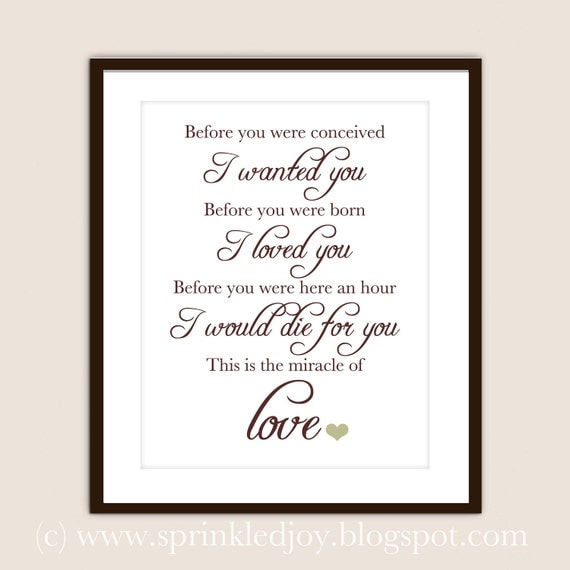 Miracle Baby Quotes: The Miracle Of Love Quote Customizable 8x10 Print By