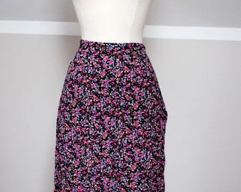 1990s Vintage Maxi Floral Skirt; Small Flower Print; Floral Maxi