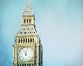London, Big Ben Photo - 8x10 - Fine art photography, England - clock tower chimes - bell teal turquoise