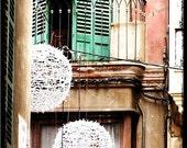 Spanish Balcony - 8x10 Fine Art Photograph.  Spanish Street, city, urban, shutters, green, red, balls, whimsy, home decor
