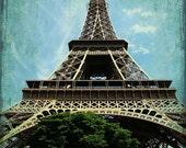 Eiffel Tower, Paris, France, paris photo, paris france, 8x10 Photograph, French, Europe, Travel Photo, Blue, Turquoise