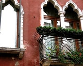 A Venetian Window to the World - 8x10 Photograph - red, crimson, rustic, venice, canal, reflection, window