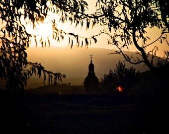 Sunset photography, golden sunshine, landscape photo, 8x10 Fine Art Photo, Silhouette art,  Gold and ochre, Camino de Santiago,  Home decor