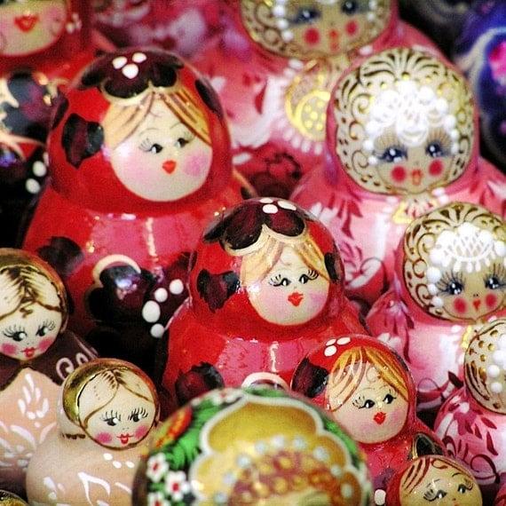Matryoshka doll, nesting doll, children's room decor, pink, gold, whimsical, folk art, global art, babushka, russian dolls, nursery