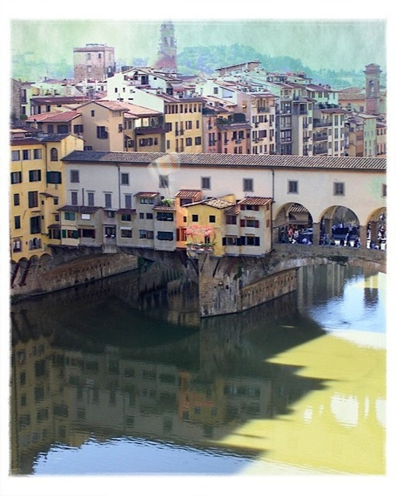 Ponte Vecchio Florence - 8x10 Fine Art Photograph.  Scenic pastel bridge over the river Arno in florence italy.