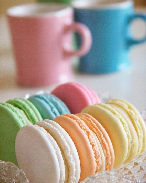 Afternoon Tea and Pastel French Macaron - 8x10 Fine Art Food Photography.